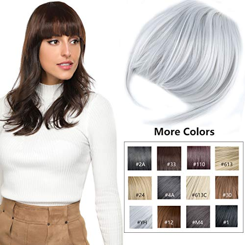 YAMEL Clip in Bangs Fringe Hair Extensions with Temples Fashion Hair-pieces Sliver Grey ()