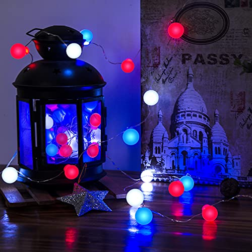 LOLStar 4th of July String Lights Red White Blue Fairy String Lights Bulb Shape Waterproof Battery Operated Patriotic Decor for Independence Day,Memorial Day,Flag Day Patriotic Party
