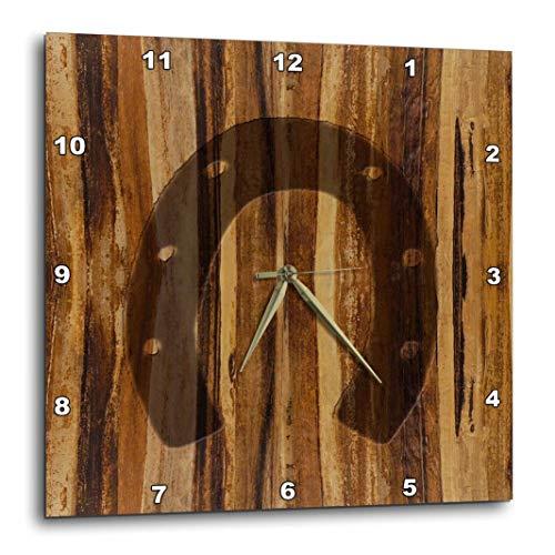 3dRose 3D Rose Wood Print Horseshoe-Wall Clock, 10-inch (DPP_25392_1)