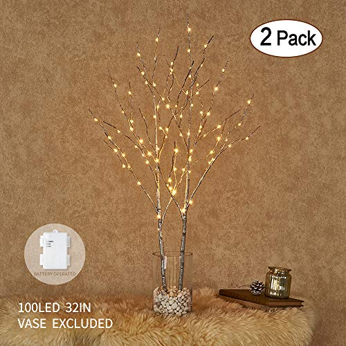 Hairui Lighted Silver Willow Branches 32in 100LED Artificial Twig Branch with Fairy Lights Indoor Outdoor Use Battery Operated 2 Pack (Vase Excluded)