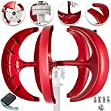 Happybuy Wind Turbine 400W 12V Wind Turbine Generator Red Lantern Vertical Wind Generator 5 Leaves Wind Turbine Kit Controller No Pole