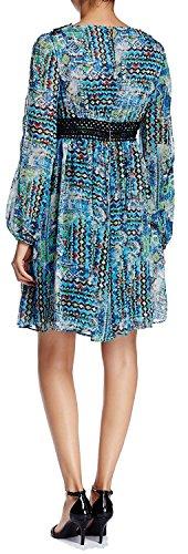 Betsey Johnson Ouvert Manches Garniture Crochet Robe En Mousseline De Soie Imprimée Gypset Imprimé Bleu Bleu
