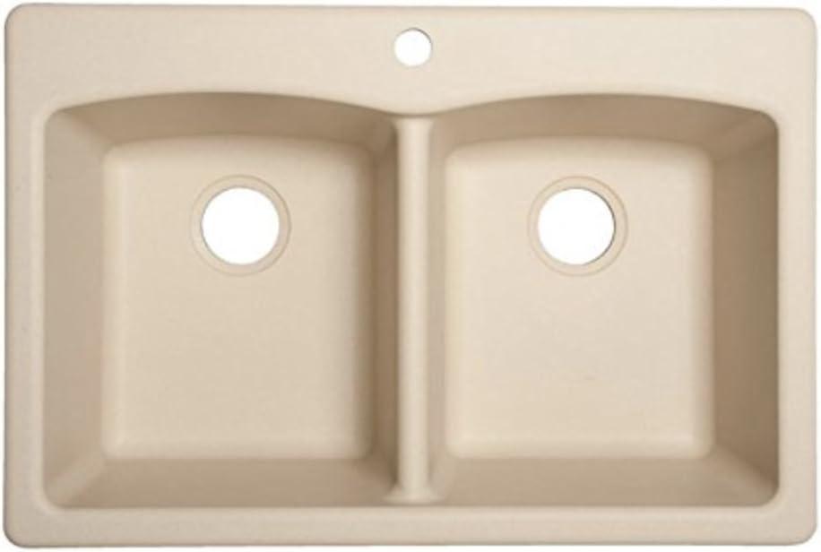 Franke ELG62D91-LIN Ellipse 33-in x 22-in Linen Double-Basin Composite Drop-in or Undermount 4-Hole Commercial Kitchen Sink, 9-inch deep