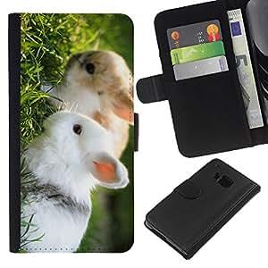 eJoy---La carpeta del tirón la caja de cuero de alta calidad de la PU Caso protector - HTC One M9 - --Cute Rabbit Friends