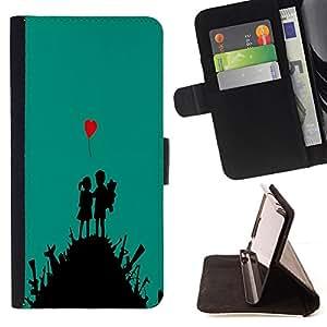BullDog Case - FOR/Samsung Galaxy Note 3 III / - / cute love art heart boy girl war fight /- Monedero de cuero de la PU Llevar cubierta de la caja con el ID Credit Card Slots Flip funda de cuer
