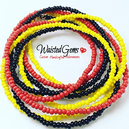 Red Yellow and Black 3pc Waist bead Set,Waist beads, body chain, body Jewelry, belly ring with chain, belly chain, Bikini, Gifts for her, Kwanza, African Waist Bead