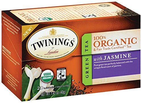 Twinings Green with Jasmine Organic, 20-Count Tea Bags 1.41 ounces (Pack of 6 )