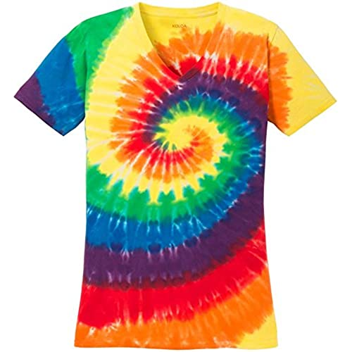 Koloa Surftm Ladies Colorful Tie Dye V Neck T Shirt Rainbow L