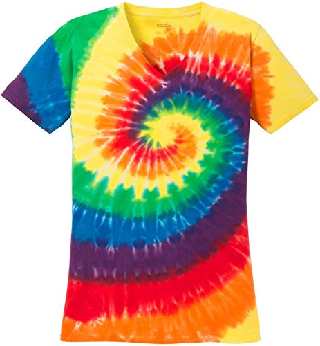 (TM) Ladies colorful Tie-Dye V-Neck T-Shirt-Rainbow-L (Hippie Tie Dye Shirts)