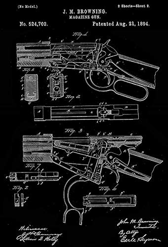 (1894 - Winchester Magazine Gun - Lever Action Rifle - J. M. Browning - Patent Art Poster )