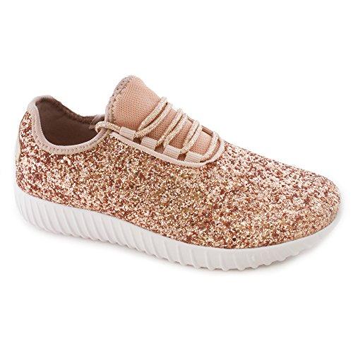Snj Womens Flat Lace Up Glitter Fashion Scintillante Sneaker Glitter Oro Rosa