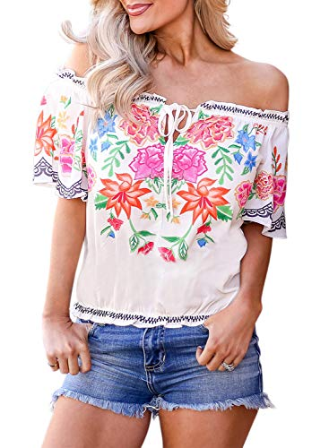 Womens Spring Flower Print Off The Shoulder Slash Neck Tops Ruffle T-Shirt Blouses Plus Size XX-Large 18 20 White ()