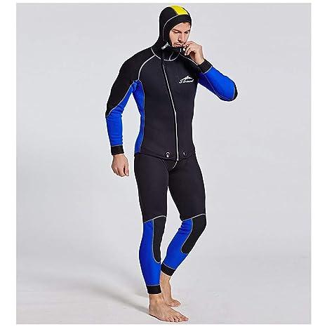 Traje de buceo para surf para hombre, neopreno de 3 mm Traje de dos piezas Traje de buceo Chaqueta de manga larga Cremallera frontal Traje de buceo ...