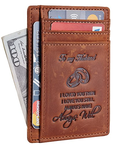 NapaWalli Wife To Husband Gift Best Anniversary Birthday Gifts For Him Genuine Leather RFID Blocking slim Wallet Card Holder (Hunter Deep Brown)