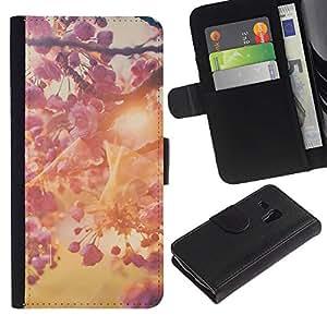 KingStore / Leather Etui en cuir / Samsung Galaxy S3 MINI 8190 / Apfel-Baum