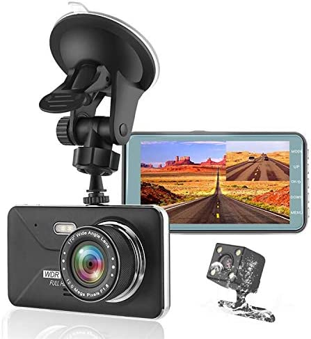 KEDAY Dash Cam 1080P FHD DVRC Car Driving Recorder , Front and Rear Cameras, 4 LCD and Night Vision, 170 Super Wide Angle, G Sensor,WDR,Parking Monitor, Loop Recording,Motion Detection Black