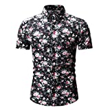 Gibobby Mens Shirts, Fashion Hawaiian Floral Print Short Sleeve Stand Collar Shirts Flower Casual T-Shirts Tops for Summer Black