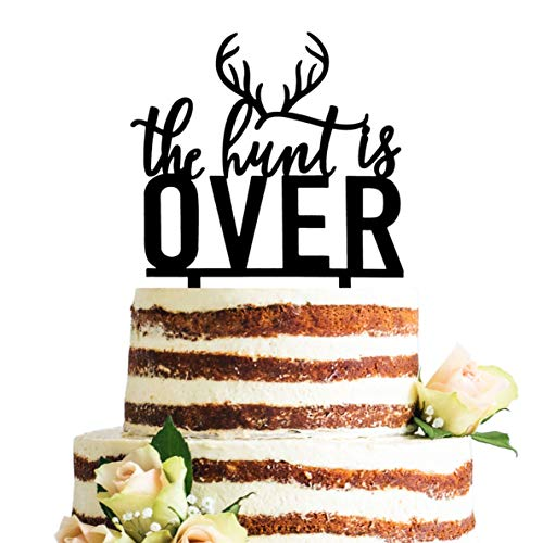 Buck and Doe Rustic The Hunt is Over Wedding Cake Topper, Bridal Shower, Engagement Party Decorations -
