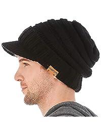 FORBUSITE Mens Knit Visor Beanie Hat for Winter Oversized B320