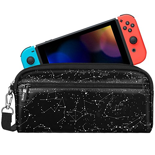 Game Pouch - Fintie Carrying Case for Nintendo Switch, Protective Sleeve Pouch Bag with Side Pocket & Foldable Game Storage Sheet for Nintendo Switch and Accessories - Constellation