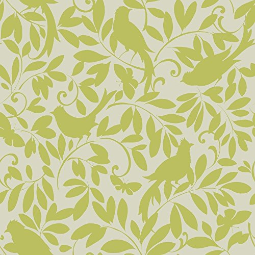 Wallpaper Prints Cottage - York Wallcoverings ER8137 Waverly Cottage Birdsong Wallpaper, Silver Sheen/Lemon Lime