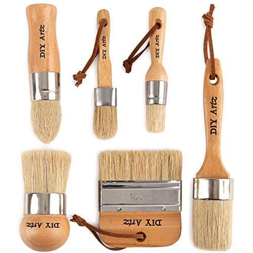 (DIYARTZ Chalk & Wax Paint Brush (Set of 6) for Waxing & Painting Projects - 100% Natural Boar Bristles, Ergonomic Handles, Minimum Shedding - Smooth Coverage for Furniture, Milk Paint & Stencil)