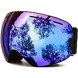 Ski Goggles,OTG Anti-Fog Snowboard Skate Snowmoblie Interchangeable Double Layer Spherical Lens Frameless Snow Goggles Men Women Juli BNC