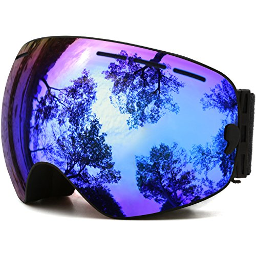 JULI OTG Ski Goggles,Frameless Over Glasses Skiing Snow Goggles for Men Women & Youth - 100%UV Protection Dual Lens (Black Frame+VLT 18.4% Brown Len with REVO Blue)
