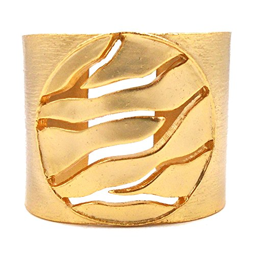 Open Branch Solid Disk Cuff Bracelet (24k Gold-Plated) by Mercedes Shaffer