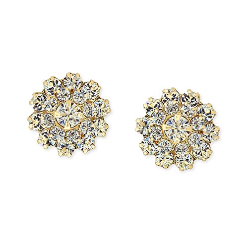 Round Crystal Cluster Prong-Set Earrings (Gold) Round Prong Set Cluster Earrings