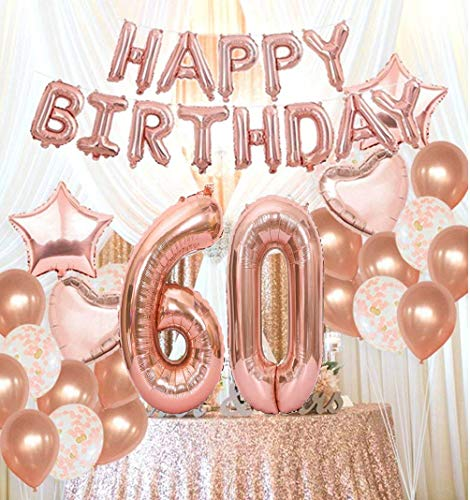 Mity Rain 60th Birthday Decorations Party Supplies60th Balloons Rose GoldRose Gold