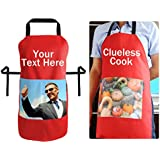 Apron Personalised with Photo Pocket and Text by Happy Snap Gifts?? (Medium 70cm x 56cm, d. Red Polycotton) by Happy Snap Gifts