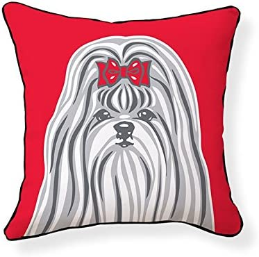 Naked Decor Shih Tzu Pillow, Red Grey White