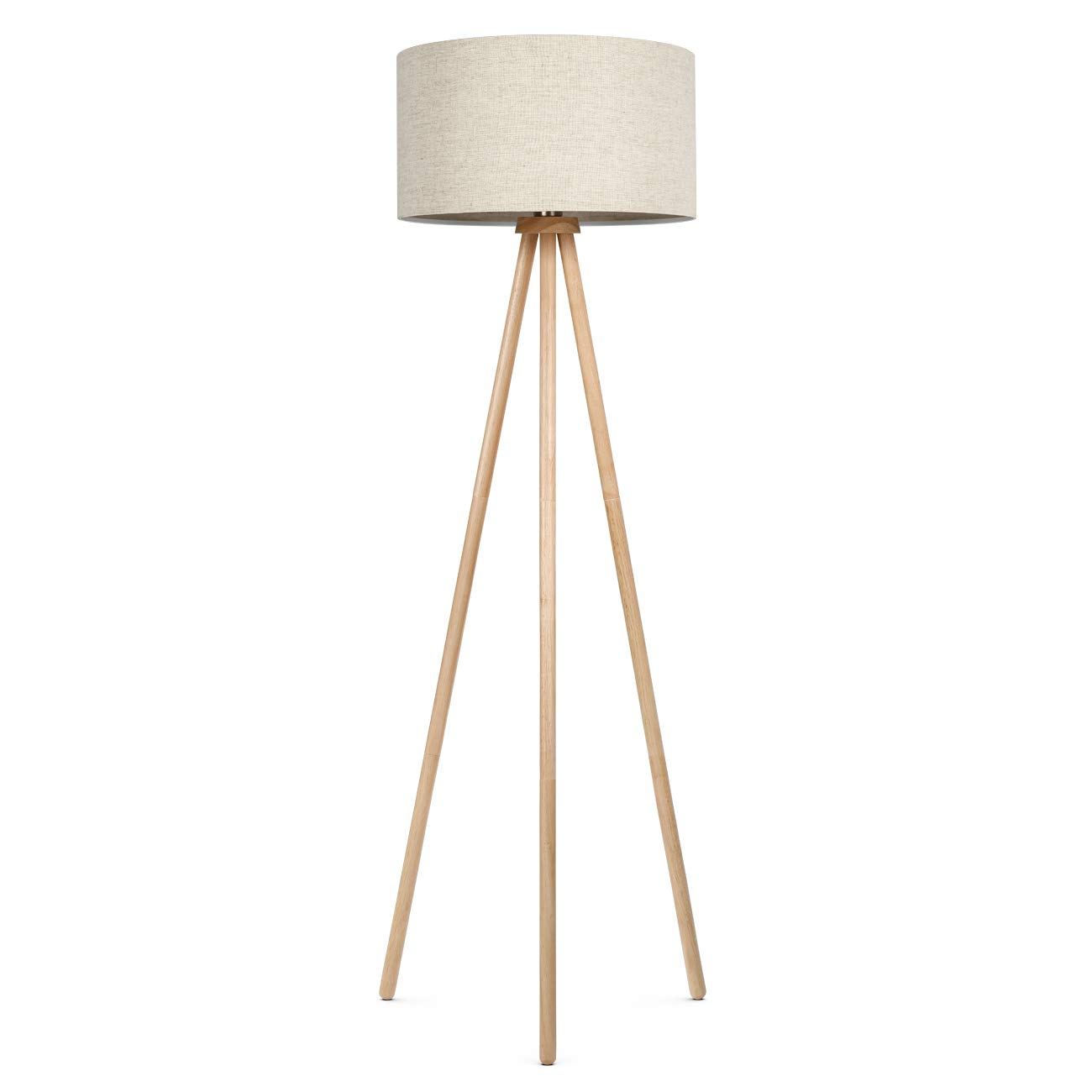 09e4237d61e6 Amazon.com: Tomons Wood Frame Tripod Floor Lamp Standing Lamp for Living  Reading Room Bedroom Offices Modern with Fabric Lampshade, 8W LED Bulb  Included: ...