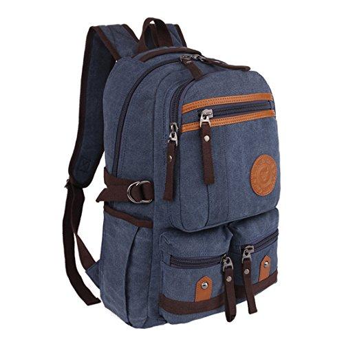 Cool&D Canvas Rucksack Schultertasche Vintage Canvas Tasche Schulrucksack Freizeit Rucksack für Damen und Herren mit 14 Zoll Laptopfach Blau