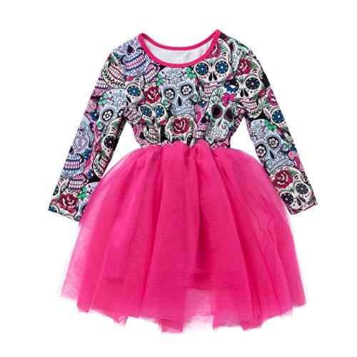 Little Girl Halloween Dress,Jchen(TM) Toddler Baby Kids Girls Long Sleeve Halloween Cartoon Skull Princess Dress for Your 1-5 Years Old Little Princess (Age: 18-24 Months, Hot Pink) -