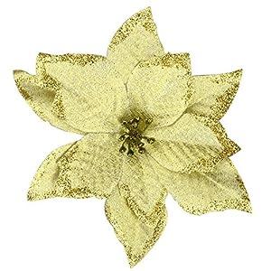 Zabrina 12 Pcs 5.11 in Christmas Tree Decorative Silk Flower Gold Poinsettia Bush and Red Poinsettia Bush Artificial…