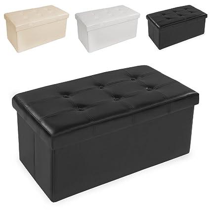 TecTake Asiento plegable Arcón Asiento Puf Ordenación Caja de almacenaje Negro