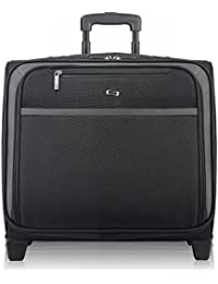 Dakota 16 Inch Rolling Laptop Case with Overnighter Section, Black