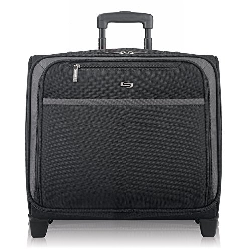Business Laptop Overnight Case - Solo Dakota 16 Inch Rolling Laptop Case with Overnighter Section, Black