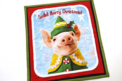Christmas Elf Pig Mini Quilt or Wall Hanging ()
