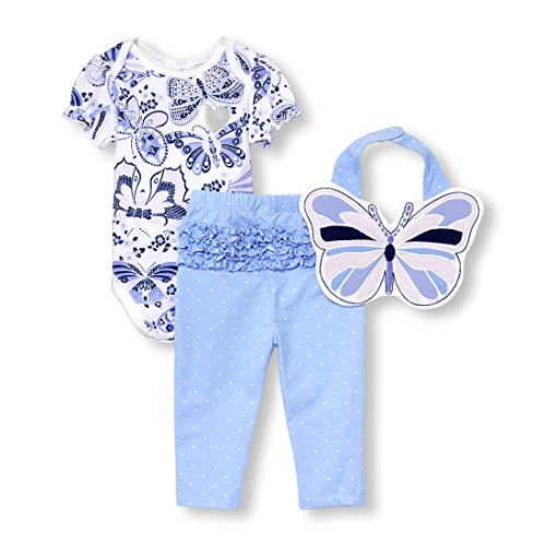 The Children's Place Baby Girls 3 Piece Butterfly Bodysuit Pant and Bib Bundle Set, White, 3-6MONTHS -