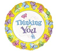 "Mylar Foil Balloon 18"" Round Single Sided Thinking of You Butterflies Garden"
