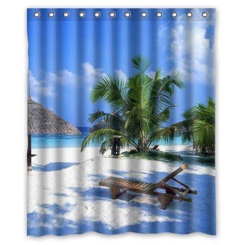 LIBIN Custom Beach Chair Palm Tree Shower Curtain Stylish Waterproof Polyester Fabric Bathroom Deco