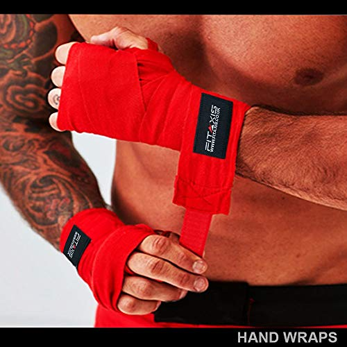 FITAXIS Boxing Hand Wraps Elasticated Inner Gloves Fist Protector MMA 4.0 meter Bandages Mitts (Red, 4.0-Meter)