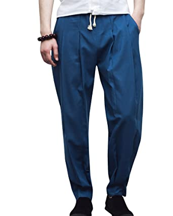 Herren Leinen-Hose Lange Hose Bequeme Stoffhose Hosen Blau 3XL ... 214d043009