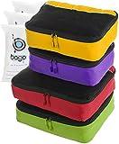 Bago Packing Cubes 4pcs Value Set Travel Organizer Plus 6pcs Zip Bags (GreenRed(L)+PurpleYellow(M))