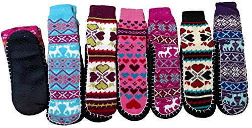 6 Pair Ladies Heavy Knit Snow Flake Reindeer Print Slipper Sock With Gripper Bottom