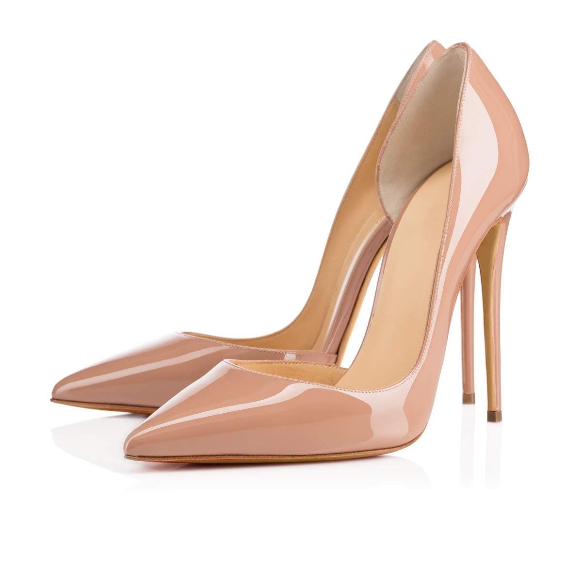 Beige side-12cm CAITLIN-PAN Womens 12cm High Heels Pointed Toe Slip On Stilettos Leather Party Dress Pumps Size 5-15 US