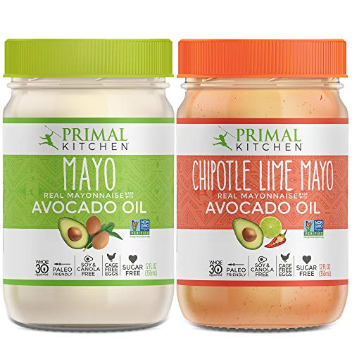 Primal Kitchen Avocado Oil Mayo Variety Pack- Includes 1 Original and 1 Chipotle Lime, Gluten and Dairy Free, Whole 30 and Paleo Approved (12 oz) - Two Pack (Olive Oil And Apple Cider Vinegar Salad Dressing)